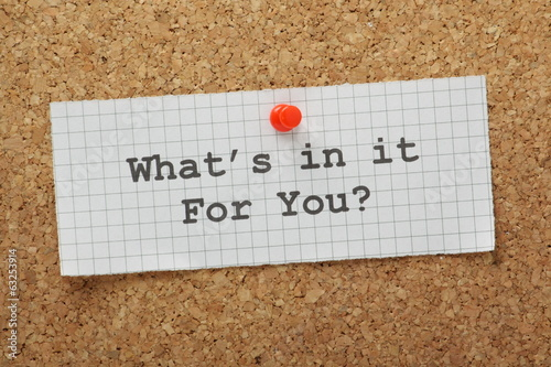 What's In It For You cork notice board concept
