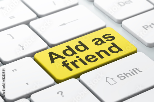 Social media concept: Add as Friend on computer keyboard