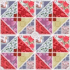 Patchwork seamless floral pattern texture