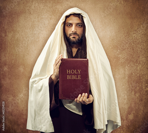 Jesus shows the holy bible