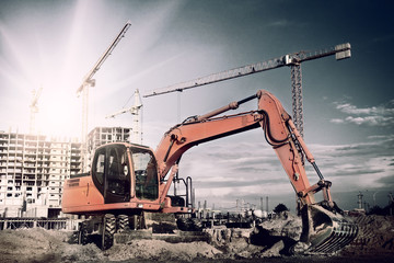 excavator on construction site
