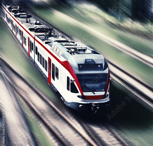 high-speed train in motion blur