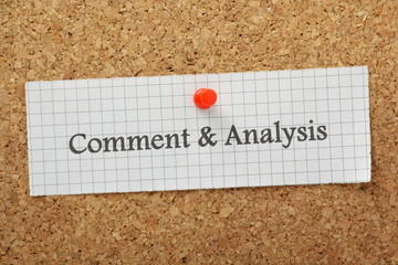 Comment and Analysis on a cork notice board