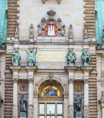 Hamburg, town hall, detail of the city hall or town hall of Hamb