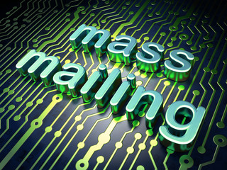 Advertising concept: Mass Mailing on circuit board background
