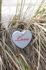 inscribed blue wooden heart on beach dunes