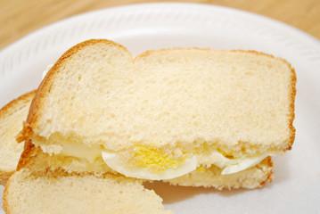Sliced Egg Sandwich on White Bread