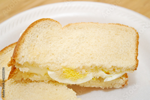 Sliced Egg Sandwich on White Bread