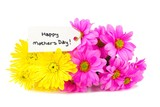 Happy Mothers Day tag with colorful flowers
