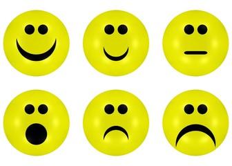 Bewertungs - Gesichter, Zensuren 1 bis 6