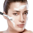 Spa Girl with Cream on Her Face. Skincare concept