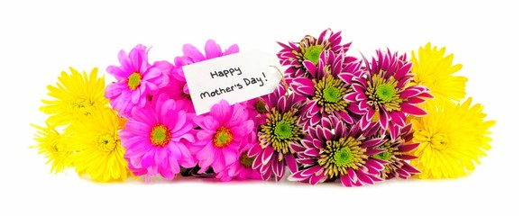 Happy Mothers Day tag with colorful flowers forming a border