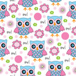 seamless colourful owl pattern vector illustration