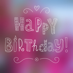 Funny vector hand drawn happy birthday card lettering