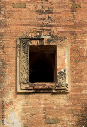 window with ornament in the ancient temple in Bagan(Pagan)