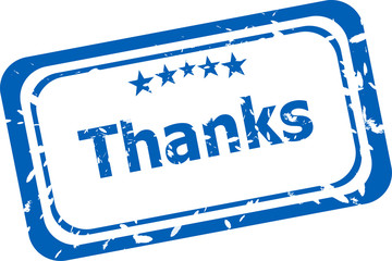 Stylized stamp showing the term thanks. All on white background