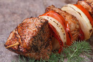 tasty grilled shish kebab with vegetables
