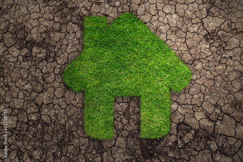 House symbol in the form of grass amid drought
