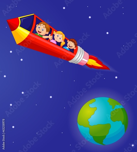 School Children Enjoying Pencil Rocket Ride
