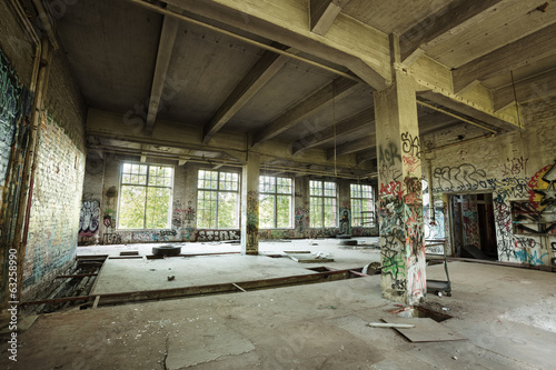 Empty abandoned factory room