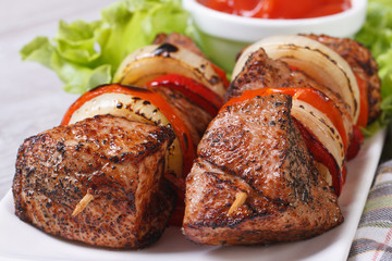 grilled shashlik with vegetables and sauce macro. Horizontal