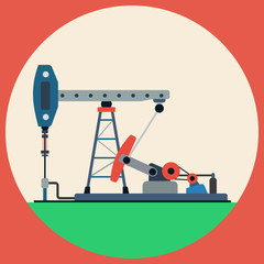Oil pump flat vector illustration