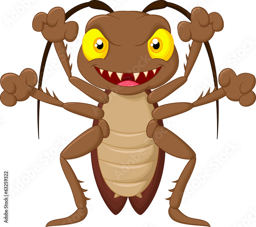 Scary cockroach cartoon