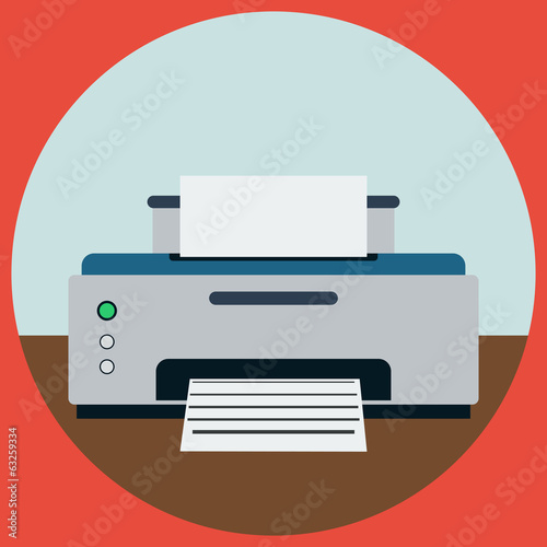 Printer flat vector illustration