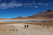 Laguna Colorada - young men, explorers,