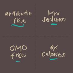 Hand written Vector Food Labels - Antibiotic Sodium GMO Calories