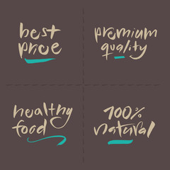 Hand written Vector Food Labels - Price Premium Healthy Natural