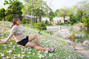 Woman sitting on lawn