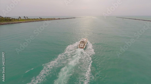 Aerial video of a boat in the water