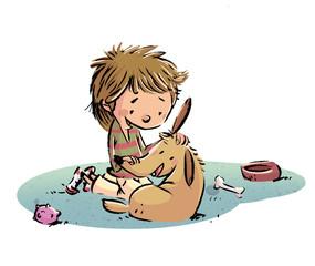 niño jugando con perro