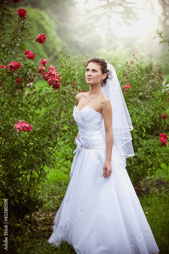 Beautiful brunette bride walking at rose garden