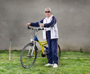 Senior man with bike