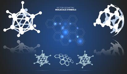 Molecule symbols on dark background, vector illustration