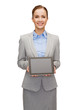 businesswoman with blank black tablet pc screen
