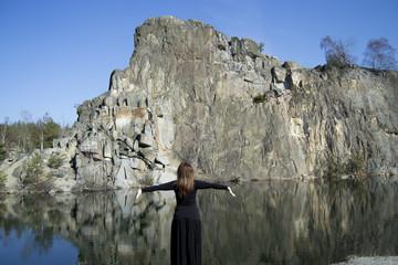 Woman - meditation in the wild (enjoying life)