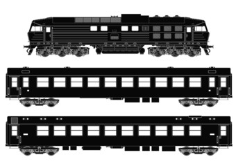 Train set of passenger waggons with locomotive