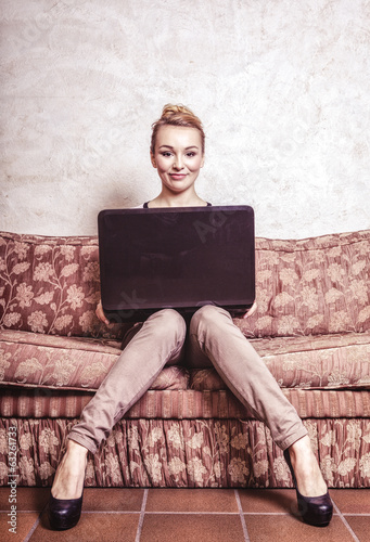 Business woman using computer. technology. Vintage photo.