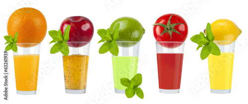 Collage of fresh fruity juice on white background