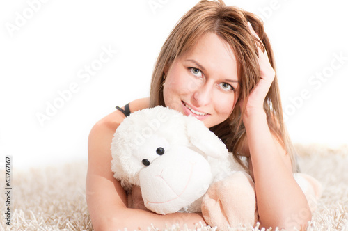 beautiful young blond woman wearing pajamas