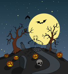 Halloween background. Spooky full moon night scenario.