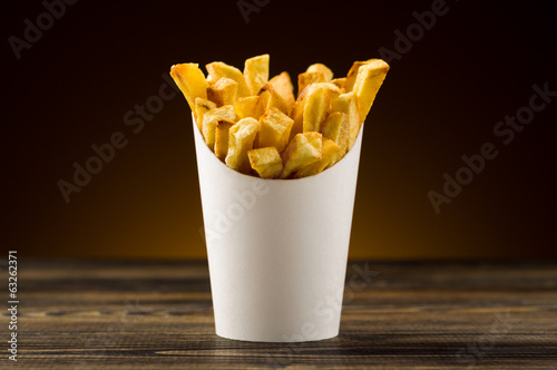 Fotobehang Restaurant French fries packaging paper