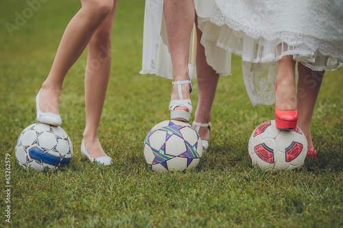 shoes of bride and her bridesmaids on a ball