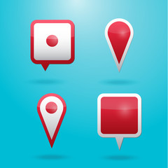 Set of map pointers. Navigation pin icons.