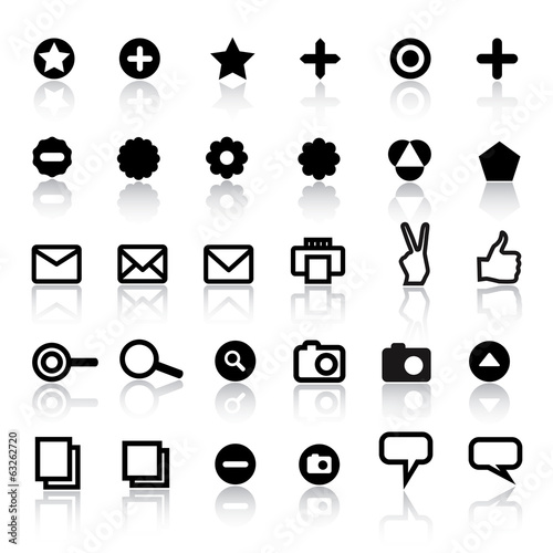 Set of different web icons in black and white.
