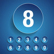 Number set vector blue