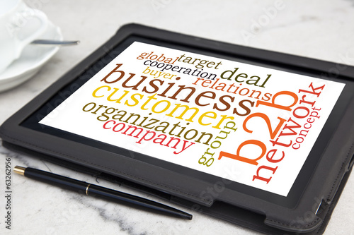 tablet with b2b word cloud